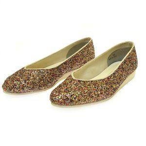 Caparros Women's Flats Multi Color Glitter 8.5 Ballet Shoes